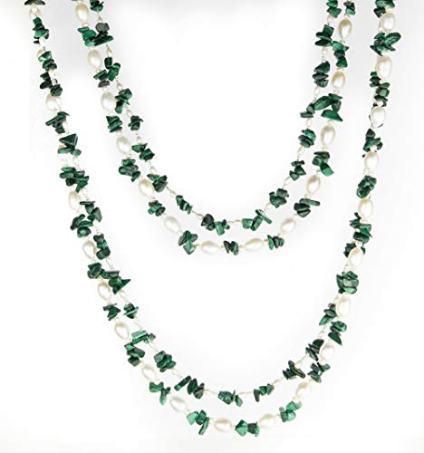 HinsonGayle 'Fern' 2-Strand Freshwater Cultured Pearl & Green Malachite Necklace & Dangle Earrings-40 in length