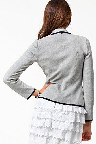 La Mujer Elegante De Manga Larga De Cuello De Chal Single Breasted Cardigan Chaqueta Trabajo Oficina Frente Abierto Grey