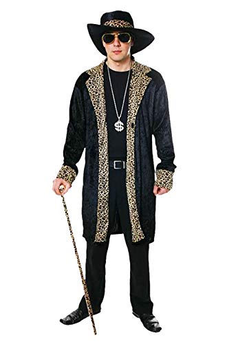 Adults 70s Rapper Gangster Black Outfit Mens Stag Party Fancy Dress Costume