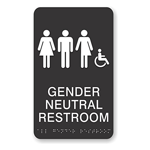 ADA Gender Neutral Restroom Sign - Handicapped with braille, 6x10 (Black) by Economy Sign Series (Image #1)