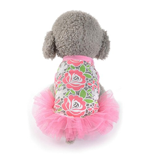 Pet Puppy Apparel,FUNIC Puppy Dog Cats Tutu Dress Lace Skirt Princess Costume (Small, Hot pink) (Easy Comfortable Costumes)