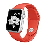 top4cus Apple Watch Band 42mm Soft Silicone Replacement Sport Strap iWatch Band for Apple Watch 42mm Model Series 1 and Series 2 - Medium/Large - Red