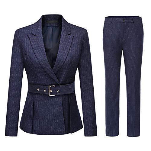 Women's Two Piece Office Lady Stripes Business Suit Set Slim Fit Blazer Jacket Pant