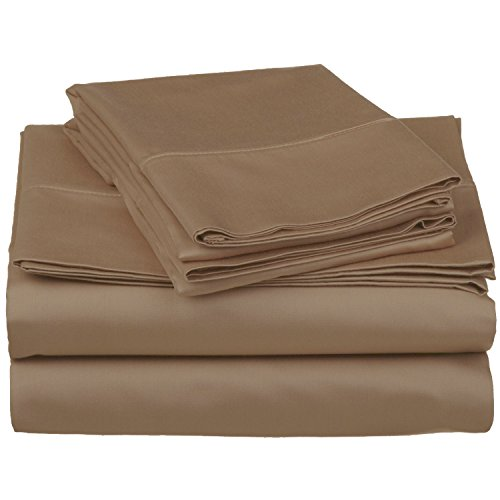500 Thread Count 100% Cotton, Single Ply, 4-Piece Queen Bed Sheet Set, Solid, Taupe ()
