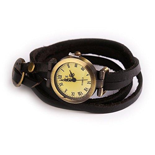 Simple Leather Vintage Female Quartz Watch Wristwatch Black