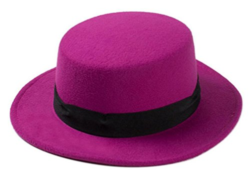 Wool Large Hat Red Brim (Classic Style Wool Blend Fedora Fashion Hat Elegant Flat Bowler Hats Brim Church Derby Cap(Purple red))