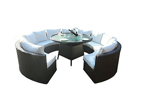 Gartenstühle rattan rund  yakoe 50142 Monaco 10-Sitzer rund Rattan Gartenmöbel Esstisch Sofa ...