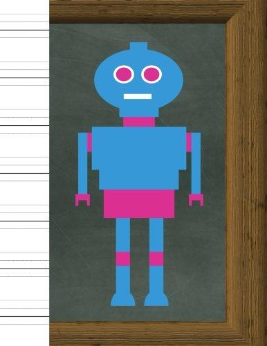 "Read Online Handwriting: Practice Paper Notebook - with Descender Lines - for Cursive Script & Print Manuscript Alphabet - 8.5"" X 11"" - 100 Pages - Blue Robot Cover pdf"