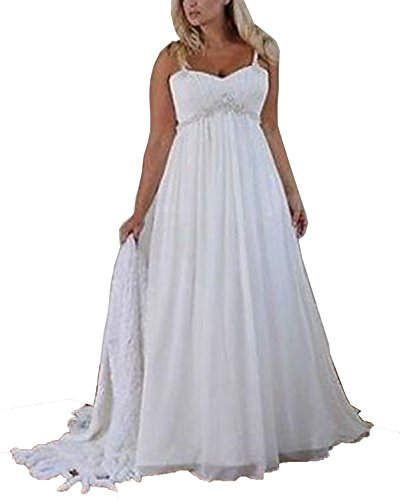 Yunshan Women's Spaghetti Lace Court Trains Backless Plus Size Bridal Chiffon Wedding Dresses For Bride White US18 by Yunshan