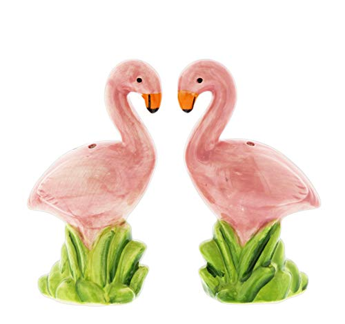 (Ceramic Flamingos Salt & Pepper Shaker Set)