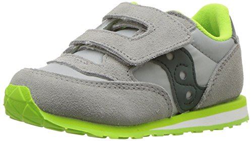 Price comparison product image Saucony Boys' Baby Jazz HL Sneaker, Grey/Dark Green, 4.5 Medium US Toddler