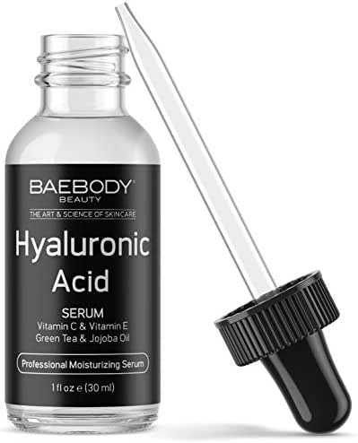 Baebody Hyaluronic Acid Serum for Face, Topical Facial Serum w Vitamin C & Vitamin E, for More Radiant Looking Skin, 1oz