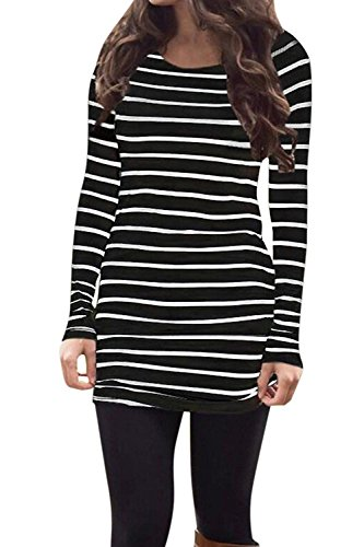 OURS Womens Basic Slin Fit Long Sleeve Striped T Shirt Dress Ruched Tunic Tops (M, Black)