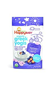 Happy Baby Organic Greek Yogis Freeze-Dried Greek Yogurt and Fruit Snacks, Blueberry/Purple Carrot, 1 Ounce