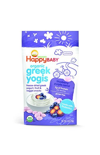Happy Baby Organic Greek Yogis Freeze-Dried Greek Yogurt and Fruit Snacks, Blueberry/Purple Carrot, 1 - Drop Greek