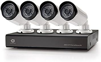 Conceptronic Kit de vigilancia AHD CCTV de 8 Canales - Kit de videovigilancia (Bullet, Alámbrico, BNC, Interior/Exterior, CMOS, 25,4/4 mm (1/4