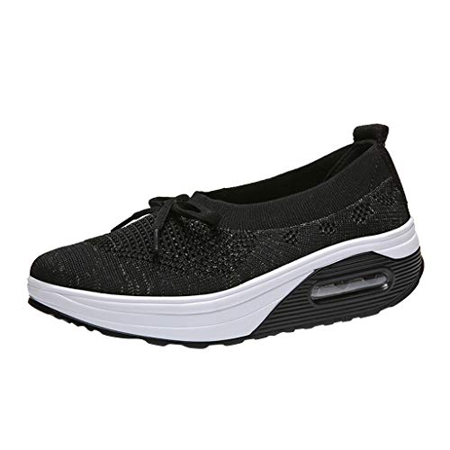- Emimarol Womens Walking Tennis Shoes Slip On Light Weight Mesh Platform Air Sneakers Black