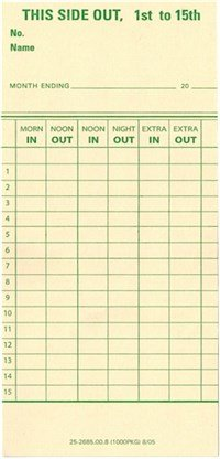 TCS (1000 ct), Monthly Time Cards 3-3/8 x 7 Form 25-2685-00-8