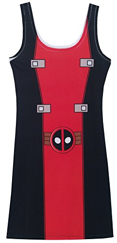 [I Am Deadpool Marvel Comics Mighty Fine Juniors Costume Tunic Tank Top Dress] (Colossus Marvel Heroes Costumes)