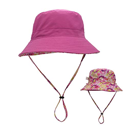 LLmoway Women Cotton Bucket Hat Outdoor Packable Sun Protection Hats Safari Cap for Travel Rose Red, -