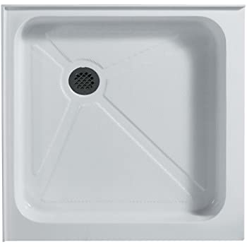 Square Shower Base, White