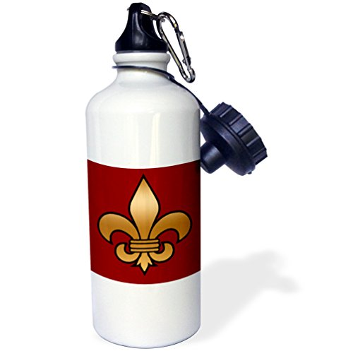 "3dRose wb_30760_1 ""Large Black and Gold Fleur de lis on maroon background Christian Symbol"" Sports Water Bottle, 21 oz, White"