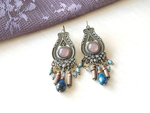 Stunning Blue Grey Antique Dangle Earrings Sparkling Hanging Earrings, Earrings special occasion, Long Hanging earrings, Designer Earrings