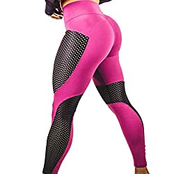 Oksale Womens Workout Leggings Fitness Sports Gym Running Yoga Athletic Pants (L, Hot Pink)