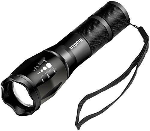 Utopia Home Handheld Tactical LED Flashlight - Zoomable and Adjustable Focus - 5 Lighting Modes - Rechargeable 18650 Battery