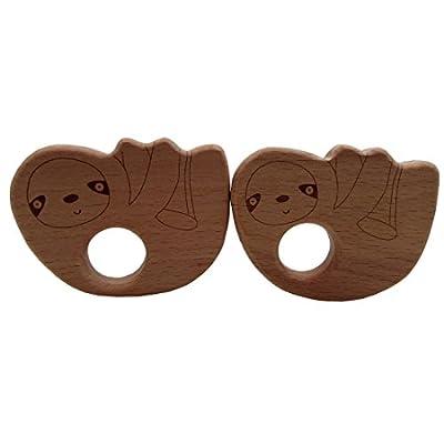 Wendysun 1pcs Wooden Sloth Teethers Nature Baby Teething Toy Organic Eco-Friendly Wood Teething Holder Nursing Baby Teether (1pcs) : Baby