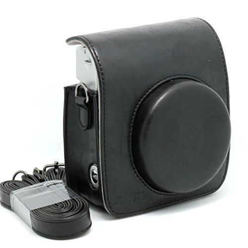 [Fuji Instax Mini 90 Case] -- CAIUL Vintage Comprehensive Protection Camera Case Bag For Fujifilm Instax Mini 90 Neo Classic Instant Film Camera With Soft PU Leather Material ( Black ) Fuji Soft Case