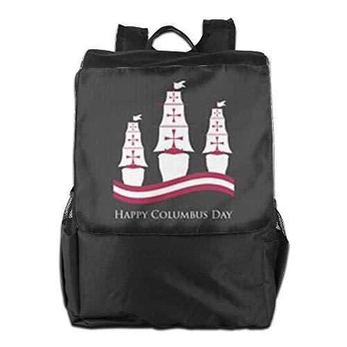 para Aire Day Ajustable Camping Libre para HSVCUY con al y Hombres para Hombro School Correa Almacenamiento Personalizada Happy Mujeres Viaje el Columbus diurno Mochila tAwqvR