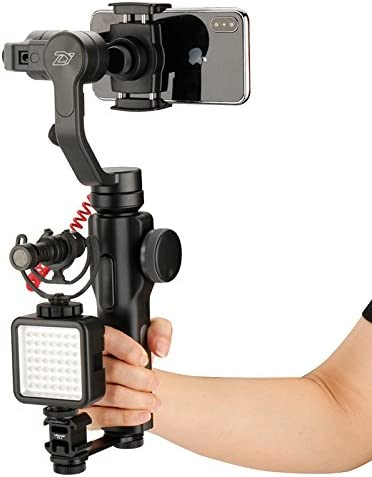 Ulanzi PT-3 3 in 1 Triple Hot Shoe Mount Adapter Converter by-MM1 Microphone Stand Bracket LED Video Light Holder for Zhiyun Smooth 4 //Smooth Q for DJI OSMO Mobile 2 for Moza Mini-MI