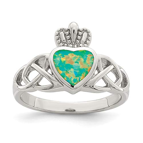 925 Sterling Silver Polished & Antiqued Created-Opal Crown w/Celtic Knots Ring Band Size 6