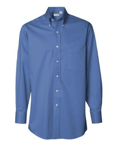 Van Heusen Mens Long Sleeve Button Down Baby Twill Dress Shirt - Colors (M, Cobalt) ()