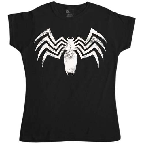 Female Venom Costumes (Womens Superhero T Shirt - Venomous Spider - Black - XL (14-16))