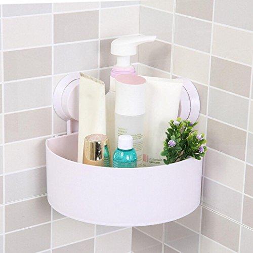 Fabal Plastic Suction Cup Bathroom Kitchen Corner Storage Rack Organizer Shower Shelf (White)