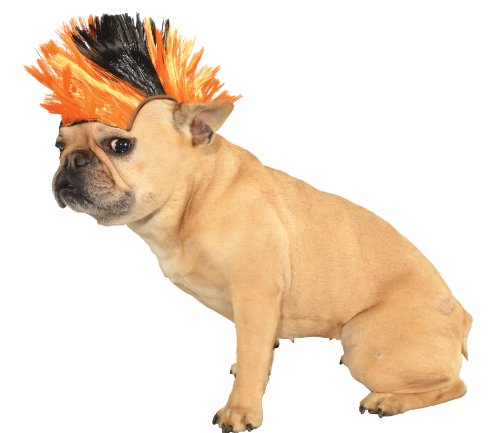 Mohawk Adult Wig - Rubie's Wig for Pets, Small to Medium, Black and Orange Mohawk