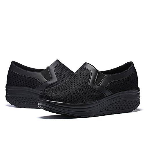 Walking Shoes Comfort Women Wedge On LOUBIT Black Sneakers Shoes Mesh Slip Breathable L wt1vCqx
