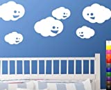 StikEez White Cute Hapy Clouds 6-Pack Fun Wall Decals