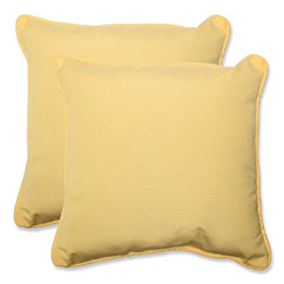 Pillow Perfect Indoor/Outdoor 18.5-inch Throw Pillow (Set of 2) with Sunbrella Canvas Buttercup Fabric, 18.5 in. L X 18.5 in. W X 5 in. D - Includes two (2) outdoor pillows, resists weather and fading in sunlight; Suitable for indoor and outdoor use Plush Fill - 100-percent polyester fiber filling Edges of outdoor pillows are trimmed with matching fabric and cord to sit perfectly on your outdoor patio furniture - living-room-soft-furnishings, living-room, decorative-pillows - 41ZKylGWZjL. SS400  -
