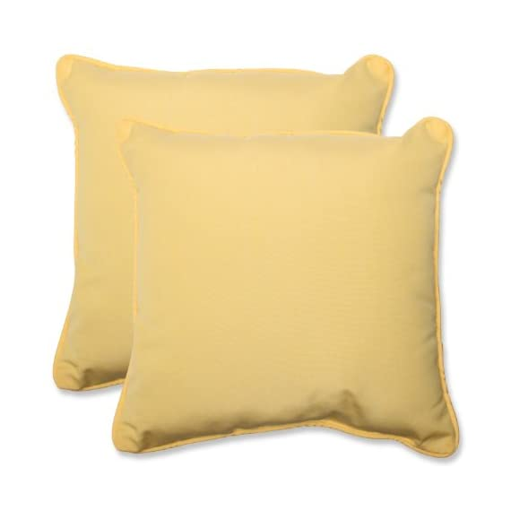 Pillow Perfect Indoor/Outdoor 18.5-inch Throw Pillow (Set of 2) with Sunbrella Canvas Buttercup Fabric, 18.5 in. L X 18.5 in. W X 5 in. D - Includes two (2) outdoor pillows, resists weather and fading in sunlight; Suitable for indoor and outdoor use Plush Fill - 100-percent polyester fiber filling Edges of outdoor pillows are trimmed with matching fabric and cord to sit perfectly on your outdoor patio furniture - living-room-soft-furnishings, living-room, decorative-pillows - 41ZKylGWZjL. SS570  -