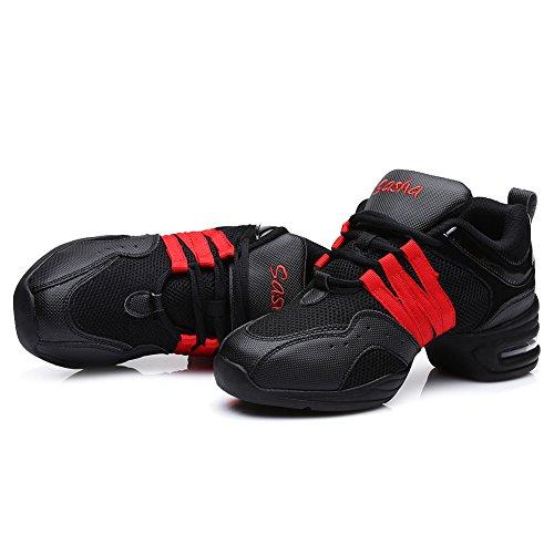 Roymall Hommes Et Femmes Boost Dance Sneaker / Moderne Jazz Ballroom Performance Danse-sneakers Chaussures De Sport, Modèle B55 / B56 Noir + Rouge-1