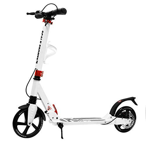 Scale Sports Adult Kick Scooter Portable Lightweight Adjustable Suspension Disc Hand Brake - Suspension Wheel Scooter