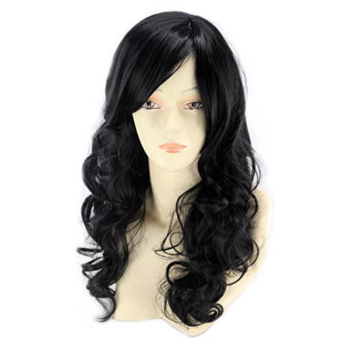 24'' Long Black Wigs for Women Curly Wavy Costume Wig Heat Resistant Halloween Cosplay Party Wig A-BU111BK (Top Curly Long Wig)