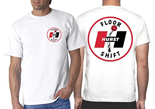 (Hurst 60's Floor Shift White T-Shirt: Large - Shifter Wheels Decal Vintage Drag Gasser)