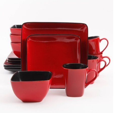 Better Homes and Gardens Rave 16-Piece Square Dinnerware Set with Dinner Plates, Dessert Plates, Bowls and Mugs, Red (Red Plates Set)