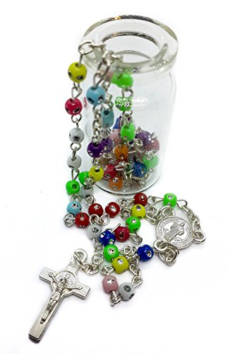 Saint Benedict Rosary Catholic Necklace by Nazareth Store | Blessed St Benedictus Centerpiece Medal and Metal Cross in Glass Bottle | Multi-Color Beaded Religious (Beaded Glass Cross)