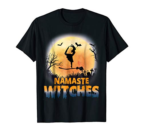 Halloween Yoga Namaste Witches T-shirt Standing Bow Pulling