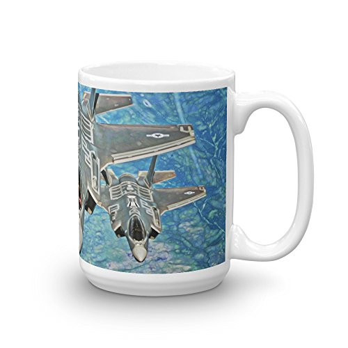 F-35 LIGHTNING II JOINT STRIKE FIGHTERS MUG. F-35s OVER OCEAN WITH STRIKE FIGHTER LOGO. PERFECT LARGE COFFEE CUP FOR ANY US NAVY, AIR FORCE FAN. GREAT GIFT IDEA FOR DAD, GRANDPA OR MILITARY JET LOVERS